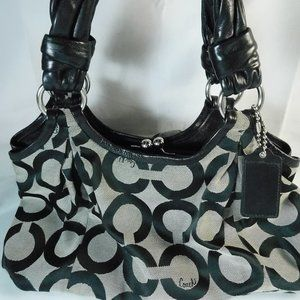 Coach Gray & Black Signature C Handbag Sachel